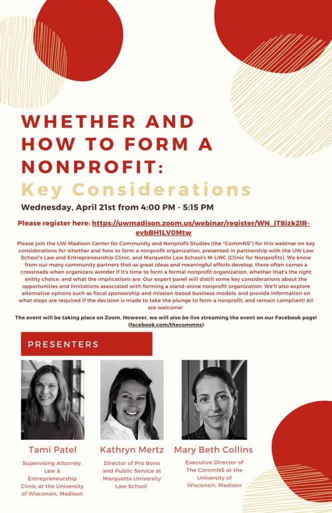 Whether and how to form a nonprofit comm university session poster